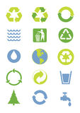 Environmental icons. Green and blue environmental icons Stock Photo