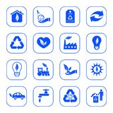 Environmental icons - blue series Royalty Free Stock Photos