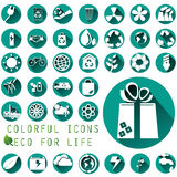 Environmental icons in green circle Stock Images