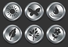 Environmental Icons on Metal Internet Button Stock Images