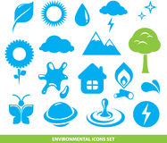 Environmental icons set. Minimalistic Royalty Free Stock Photo