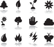 Environmental icons set. Black. silhouette Stock Images
