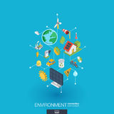 Environmental integrated 3d web icons. Digital network isometric concept. Environmental integrated 3d web icons. Digital network isometric interact concept stock illustration