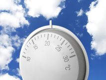 Environmental issues. Heating thermostat against the sky to show global warming concept royalty free stock image