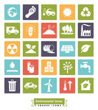 Environmental Issues solid color square icons set Royalty Free Stock Photo