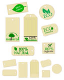 Environmental labels. Set of seven labels with an environmental design: Eco-friendly, organic & natural. The blank labels are very useful for your individual Stock Photos