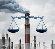 Environmental Law. Symbol as an industrial smoke stack shaped as a justice scale as a metaphor for pollution regulations and clean air legislation with 3D royalty free illustration