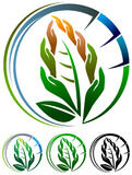 Environmental logo. Hands in leaf shape environmental logo design stock illustration