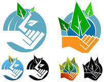 Environmental logo. Isolated illustrated hand with leaves environmental logo set Royalty Free Stock Image