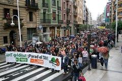 Environmental manifestation. Against the construction of AHT-TAV, high speed train, in streets of Donostia, Euskadi Stock Photos