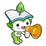 Environmental Mascot the hand is holding a loudspeaker. Nature F Royalty Free Stock Image