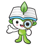 Environmental mascot look through a magnifying glass. Nature Fai Stock Photos