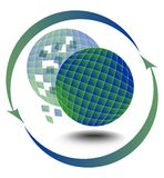 Environmental motif with globe and motif with a globe and the silhouette, which is broken into shards Stock Images