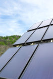 Environmental panel installed in the field and working on solar Royalty Free Stock Images