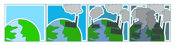 Environmental pollution. An illustration of environmental pollution Stock Photo