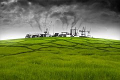 Environmental pollution. Heavy industries cause environmental pollution destroying the nature Royalty Free Stock Photography