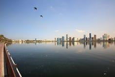 Environmental pollution. Khalid Lagoon. UAE stock images