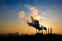 Environmental pollution. Fume from smokestack stock image