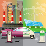 Environmental Pollution. Alternative energy. Cartoon automobile Stock Photography