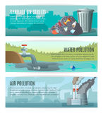 Environmental Pollution Banners Set Royalty Free Stock Photography