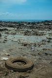 Environmental Pollution on the Beach in Thailand Royalty Free Stock Image