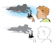 Environmental pollution. Cartoon on environmental pollution: a boy trying to blow out the factory chimneys Stock Photo