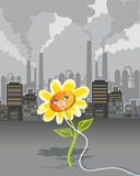 Environmental pollution. Cartoon on environmental pollution - flower breathing using oxygen mask Royalty Free Stock Image