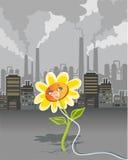 Environmental pollution. Cartoon on environmental pollution - flower breathing using oxygen mask Vector Illustration