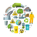 Environmental Pollution Circle Composition Royalty Free Stock Image