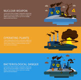 Environmental Pollution Colored Banner Set Royalty Free Stock Photo