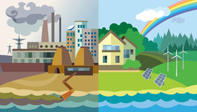 Environmental pollution and environment protection. Flat design  concept illustration: urban and village landscape. Environmental pollution and environment Royalty Free Stock Photos