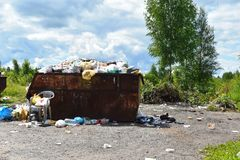 Environmental pollution. An environmental problem and recycling in villages stock image