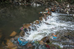 Environmental pollution in the Himalayas. Garbage in the water of Bagmati river Stock Photography