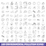 100 environmental pollution icons set Stock Photos