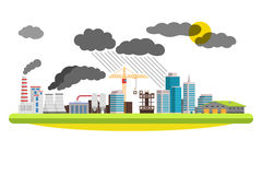Environmental pollution the mills and factories located in the city. Vector illustration on white background. Stock Photography