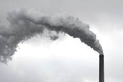 Environmental Pollution Plant with Chimney Royalty Free Stock Photos