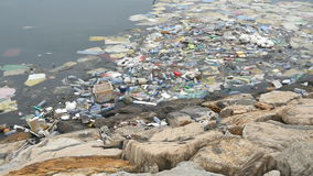 Environmental pollution. Plastic bottles, bags, trash in river or lake. Rubbish and pollution floating in water. Motion stock footage