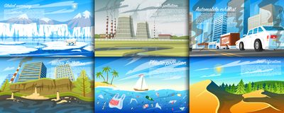 Environmental pollution. Set of radioactive industry. Ecological problems Deforestation, global warming, oil spill. Pesticides Automobile exhaust royalty free illustration