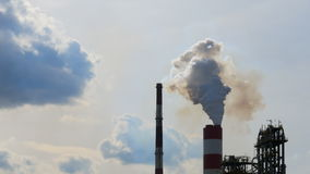 Environmental pollution - smoke from the chimneys stock video