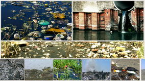 Environmental pollution in various forms-split screen stock footage