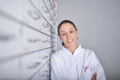 Environmental Portrait of a medical personnel, or doctor in pharmacy stock photos