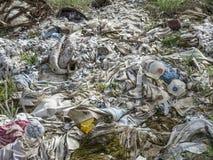 Environmental problem. Wastes which contaminate soils.  stock photo
