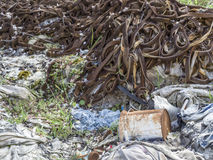 Environmental problem. Wastes which contaminate soils Royalty Free Stock Photo