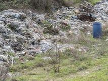 Environmental problem. Wastes which contaminate soils.  stock photos