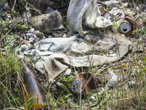 Environmental problem. Wastes which contaminate soils Stock Image