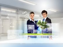 Environmental problems and high-tech innovations. Young businesspeople looking at high-tech image of tree Royalty Free Stock Photos