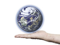 Environmental Protection. This image shows a hand holding the planet Stock Image