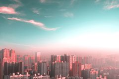 Environmental protection concept: big cities with severely polluted air royalty free stock photo