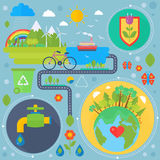 Environmental Protection, Ecology concept Banners Set in modern Flat Style. Ecology Green Energy and save planet. Infographics design, web elements, poster Royalty Free Stock Photos