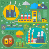 Environmental Protection, Ecology concept Banners Set in modern Flat Style. Ecology Green Energy and save planet. Infographics design, web elements, poster Royalty Free Stock Images